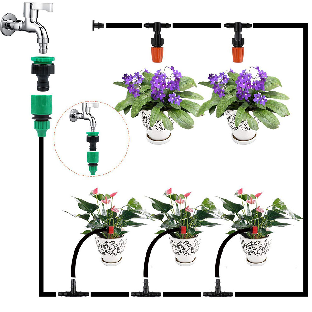30m Equipment DIY Lawn Flow Control Drip Irrigation Kit Adjustable For Garden Automatic Watering Accessories Plants Emitter