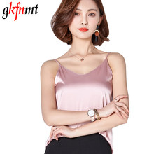 Women Camis Silk Halter Top Women Camisole 2018 Summer Style Sexy Sleeveless Vest Slim White Crop Top Roupas Femininas XXL(China)
