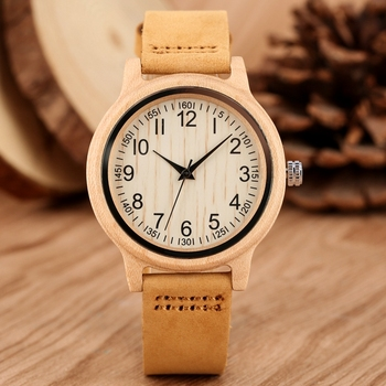 Natural Bamboo Wooden Watches Ladies Watch Female Precise Scale Wood Wristwatch Slim Leather Band Quartz Watches for Women Girls