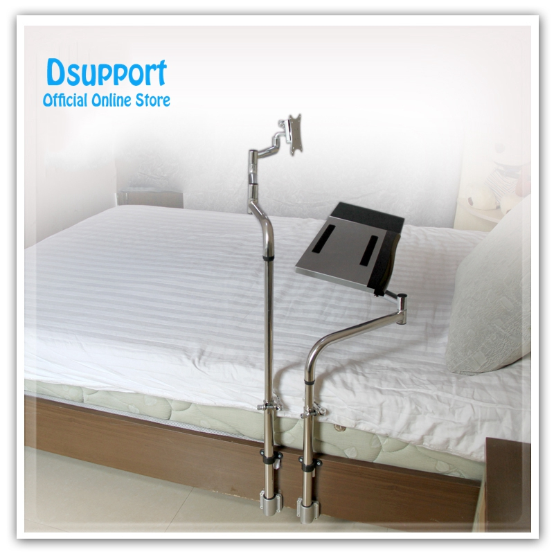 Bedside Clamping Keyboard Holder+ Monitor Holder Full Motion Lazy Laptop Desk LCD Computer Mount Stand