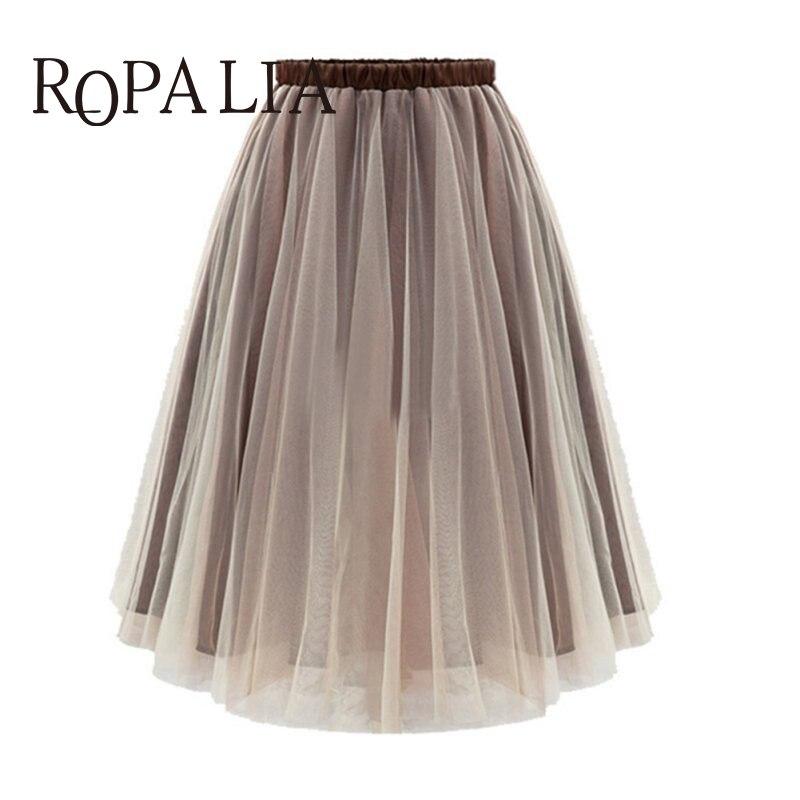 Summer Style Women Midi Skirts Long Tulle Skirt Pleated Adult tutu