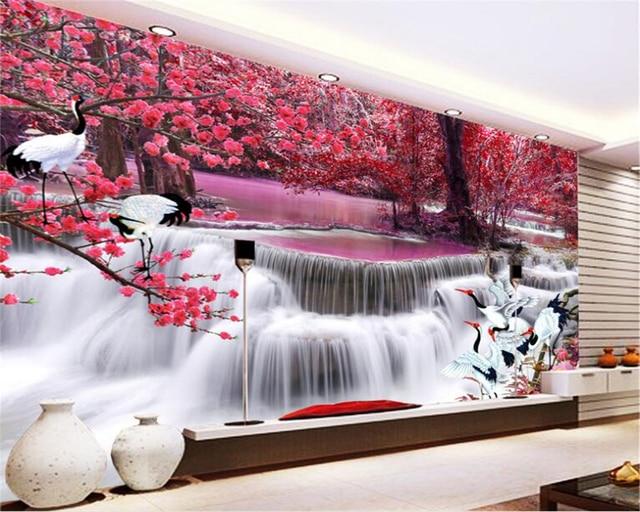 Beibehang aanpassen d behang waterval herfst bladeren villa bar