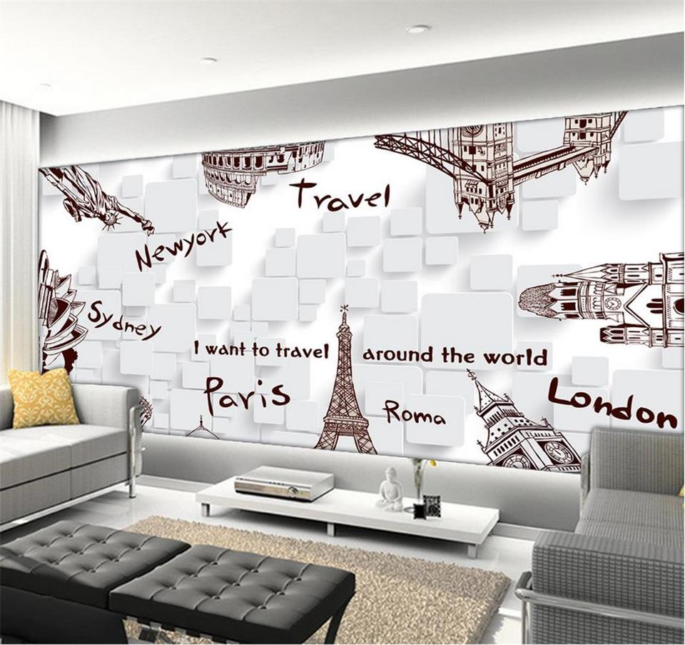popular hand painted murals buy cheap hand painted murals lots custom 3d photo wallpaper room mural hand painted famous building travel sofa tv background wall room