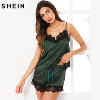 SHEIN Pijama Mujeres ropa de Dormir Verde Del Ejército Correa de Espagueti V Cuello de Encaje Satinado Cami y Shorts Pijama Set
