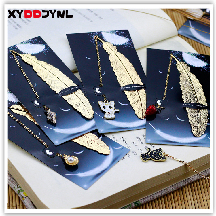 1pcs Retro Metal Feather Bookmark Marque Page Creative Book Mark Korean Stationery Gift Package School Supplies