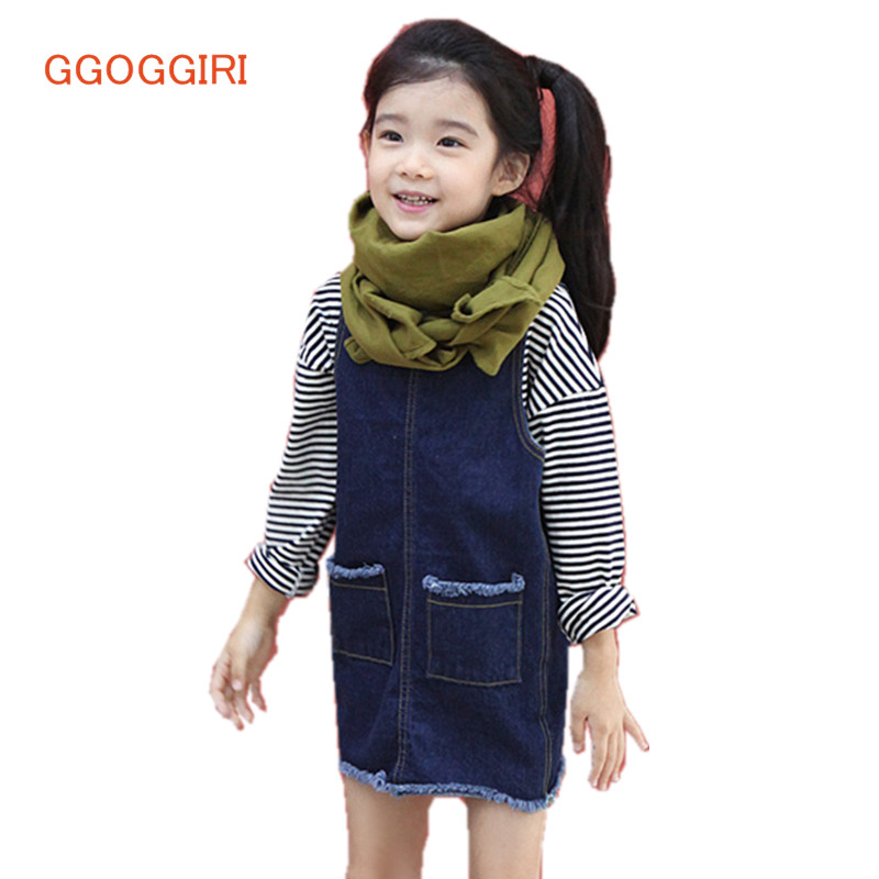 GGOGGIRI Brand New Denim Vest Dresses Girls  Autumn Spring Summer Double-used Sleeveless Solid  Fashion Quality Kids Dresses