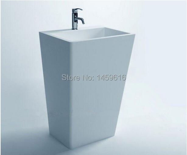 Bathroom Cuboid Pedestal Washbasin Cloakroom Rectangular Solid Surface Stone Freestanding Vanity Sink W9002