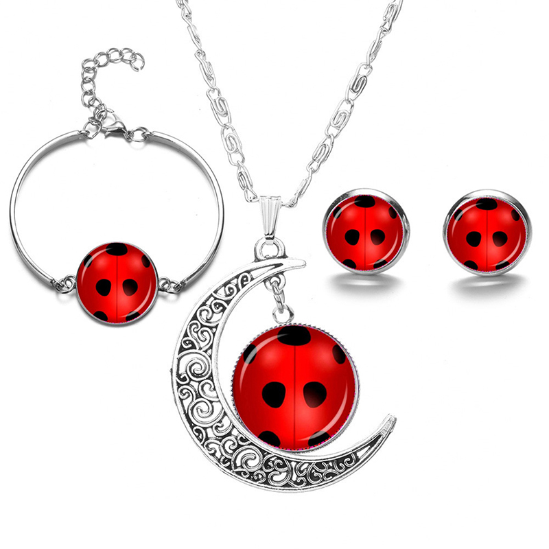 1 Set Red Ladybug Jewerly Set Necklace Earrings Bracelet Silver Color Round Charms Fashion Party Glass Gems Pendant