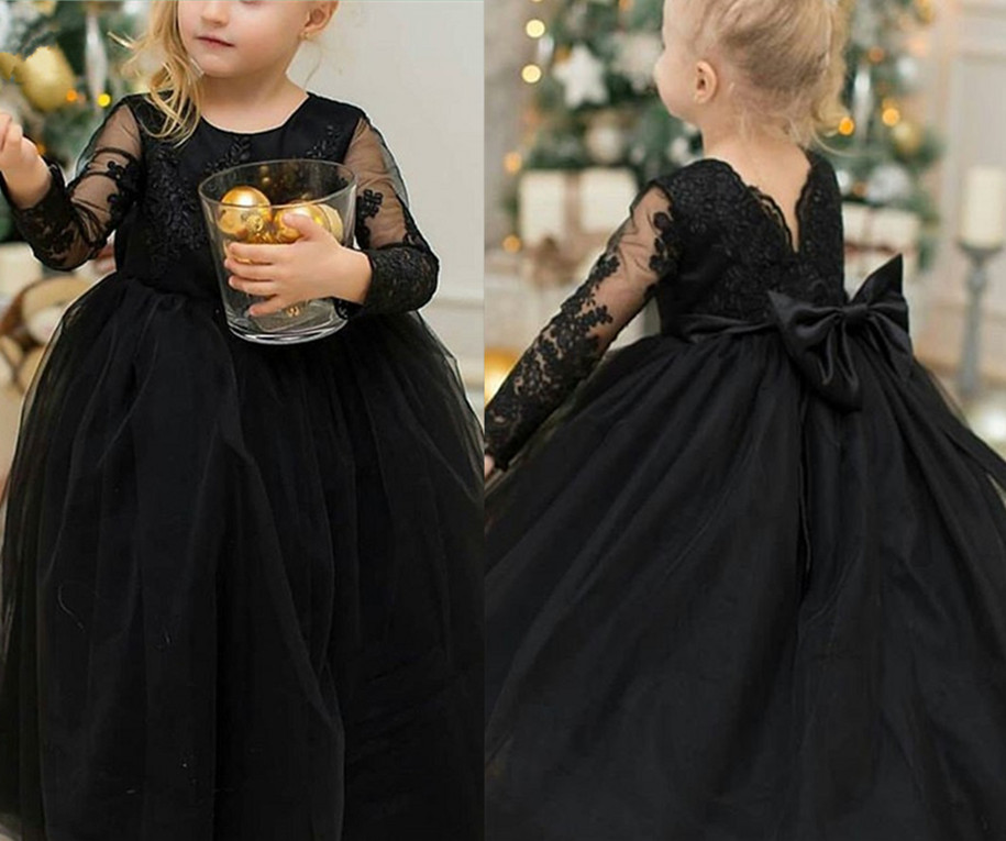 купить Black Flower Girls Dresses For Weddings with Bow Long Sleeves Lace Appliques Ball Gown Birthday Girl Communion Pageant Gown онлайн