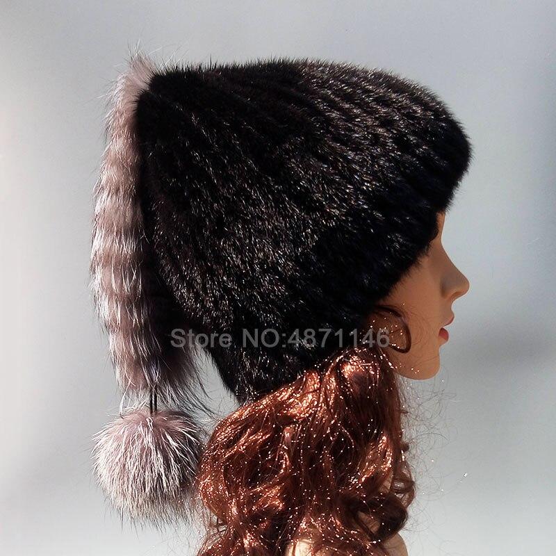 Nouveau automne hiver dame femmes filles réel vison fourrure chapeau chaud avec des queues d'argent pompon naturel vison fourrure chapeaux cap Skullies bonnets
