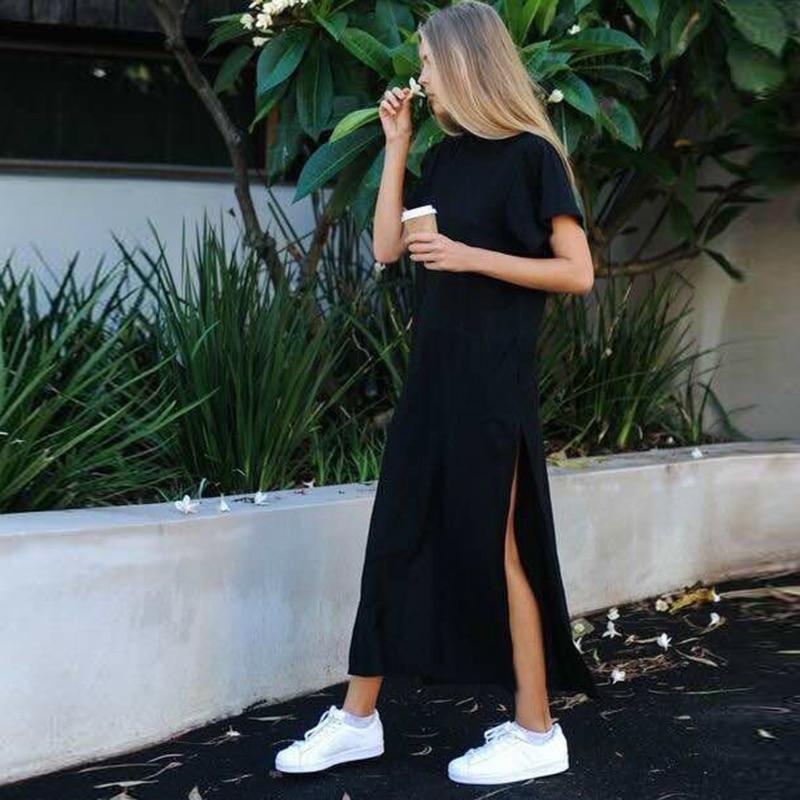 Maxi T Shirt Dress Women Summer Dresses Casual Beach Sexy Boho Vintage Bandage Elegant Bodycon Black Long Sundress Plus Size