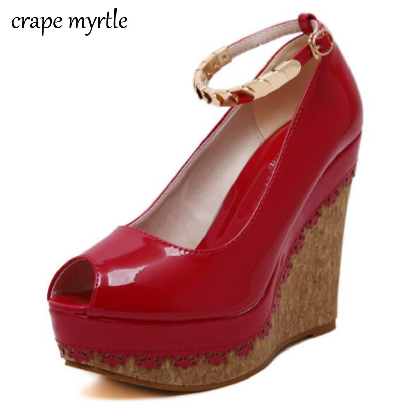 Ankle Strap heels purple shoes Wedges pumps High Heels Platform heels peep toe Pumps dress Wedges Shoes Zapatos Mujer YMA108 apoepo brand 2017 zapatos mujer black and red shoes women peep toe pumps sexy high heels shoes women s platform pumps size 43