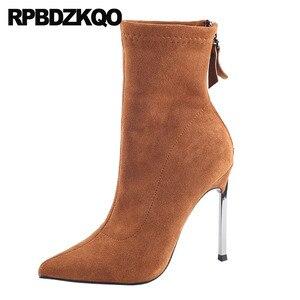 Sexy fioletowy Slim ekstremalne fetysz kostki Stretch szpilki 9 zamszowe metalowe buty Stiletto kobiety brązowy marka skarpety buty szpiczasty nosek