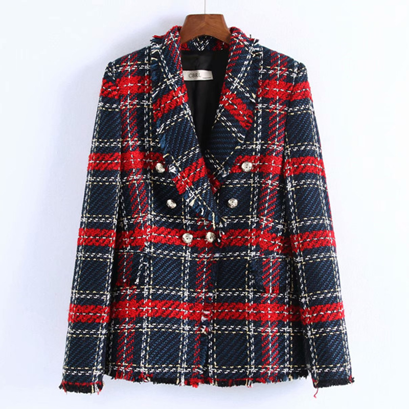 Contrast Color Patchwork Plaid Autumn Blezer Femenina Elegant Office Ladies Jackets And Blazers Casual Fashion Women Outwears