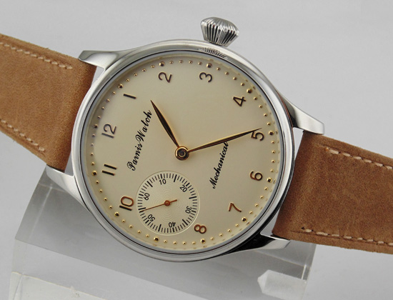 Parnis 44mm Big yellow Dial Mechanical 6497 Hand Winding mens Watch 1555