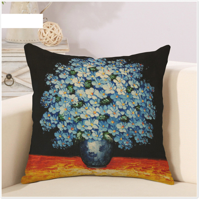 Flowers Screen Large Painting Art Oil Pillow Cover Mager Decorative Pillows Home Decor Gift