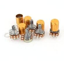 цена на 5 pcs WH148 50 K OHM Linear lancip Rotary potensiometer, 50KB B50K Pot w tombol-tombol