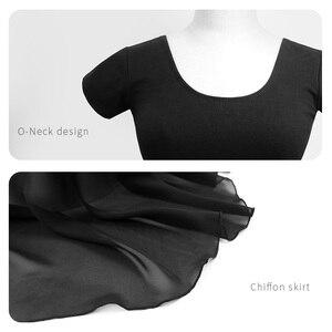 Image 5 - Ballett Trikots Für Frauen Professionelle Ballett Kostüme Erwachsene Dance Kleid Schwarz Baumwolle Trikot Mit Chiffon Rock