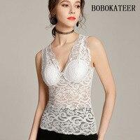 BOBOKATEER Solid Women Crop Tops Women 2018 White Sleeveless Lace Tank Top Bustier Haut Femme Cropped