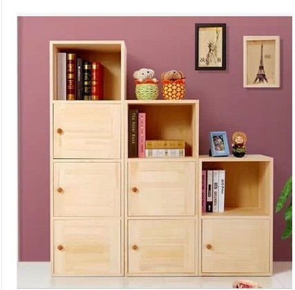 Solid Wood Bookcase Lockers Storage Cabinets With Doors Simple Childrens Toys Debris Pine Cupboard