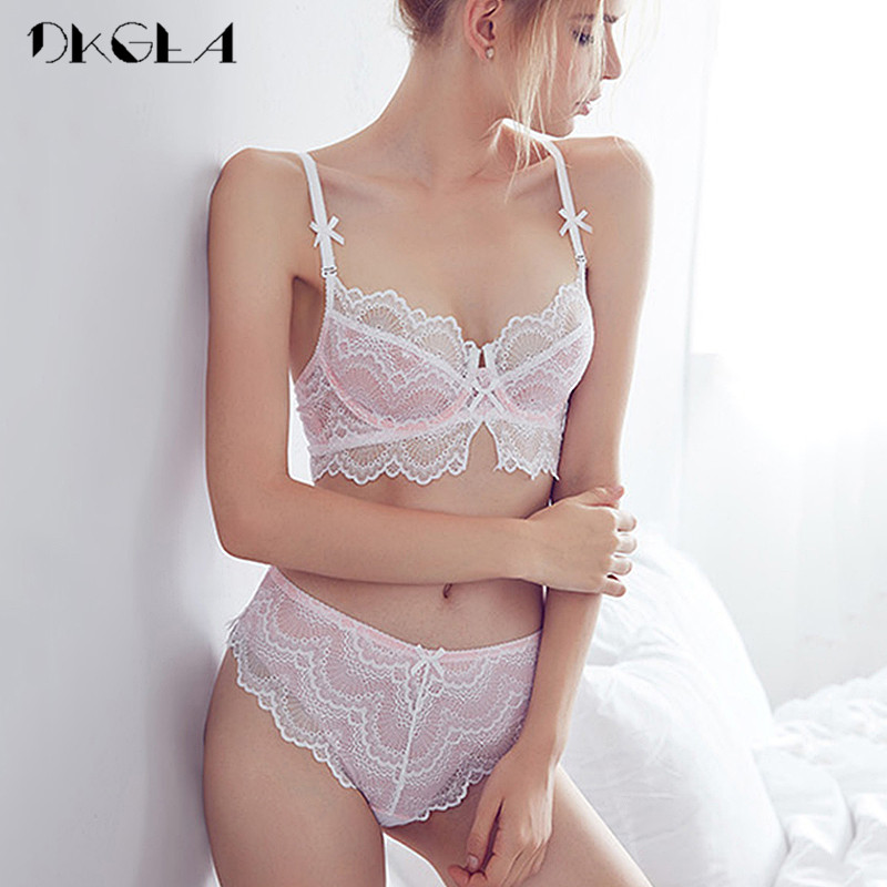 Young Girl Pink Bras Ultrathin Sexy Underwear Sets Embroidery Women Bra Lace Lingerie Transparent Bra Set Hollow Out Brassier|Bra & Brief Sets| |  - title=