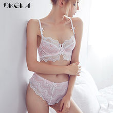 382d9341907 Young Girl Pink Bras Ultrathin Sexy Underwear Sets Embroidery Women Bra  Lace Lingerie Transparent Bra Set