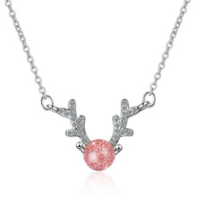 100% 925 Sterling Silver Trendy Little Christmas Elk Deer Animal Pink Strawberry Quartz Ladies Pendant Necklace Jewelry Chains