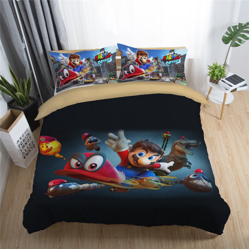 Home Textile Mario Bros.Printed Bedding Set Children Bedroon Soft Duvet Cover Set Pillowcase Au Eu Us Different Versions Size