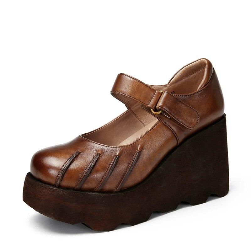 2018 VALLU Genuine Leather Women Wedge Pumps Round Toes Buckle Handmade Vintage Platform Pumps Ladies High Heel Shoes цена