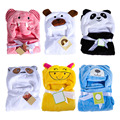 2017 Baby Blankets Newborn Baby Hooded Bath Towel Cute Animal Flannel Cartoon Toddler Baby Bedding