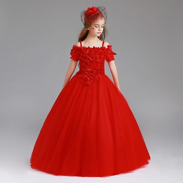 e44067a1e 2018 white red Flower Girl Dresses short sleeves girls pageant dress ...