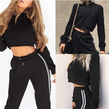 Autumn Tracksuit Women Two Piece Set Hoodies Sweatshirt and Pant Female Casual Fitness Sportswear Set Fall 2 Piece Set Crop Top