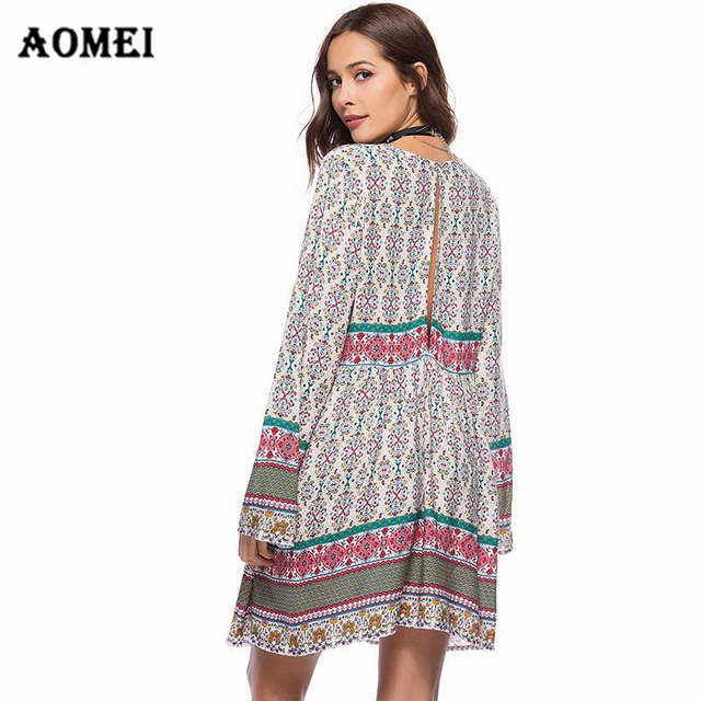 2efc4781ca624 Online Shop Women Oversized Dress Floral Print Boho Tunic Girls Deep V Neck  Fashion Ladies Beach Vacation Loose Long Sleeves Spring Dresses