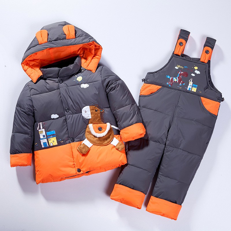 2017 Children Down Clothing Kids boy Suit  winter Overalls for Baby Girl boy Warm Snowsuits hoodied coat Jackets+bib Pants set russia winter children winter down sets kids ski suit overalls baby girls boys down coat warm snowsuits jackets bib pants set