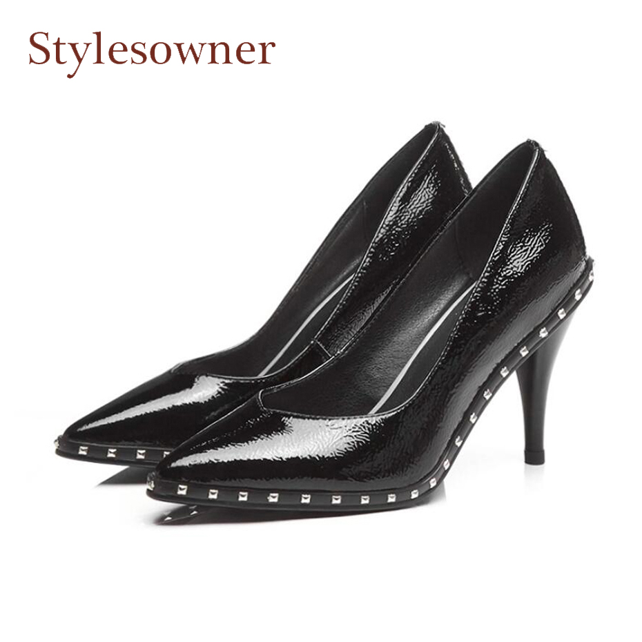 Stylesowner spring summer autumn pointed toe high heel shoes women pumps rivet beading slip on dress shoes mujer stiletto heels wholesale lttl new spring summer high heels shoes stiletto heel flock pointed toe sandals fashion ankle straps women party shoes