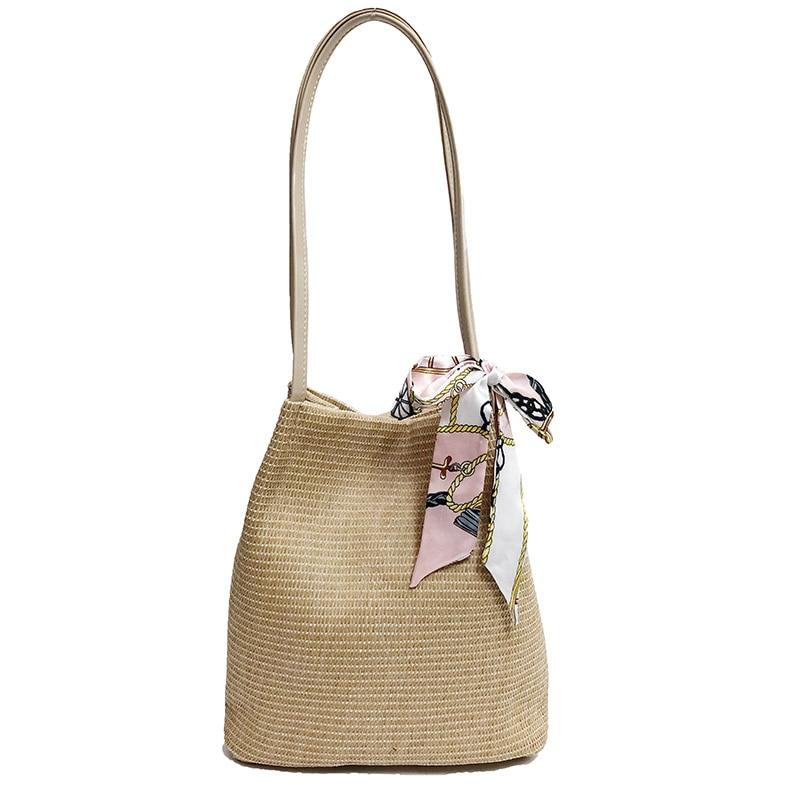 2018 new summer fashion bucket Straw Bags Women Handmade Woven Beach Crossbody Bag Bohemia personality Handbag Bali personality