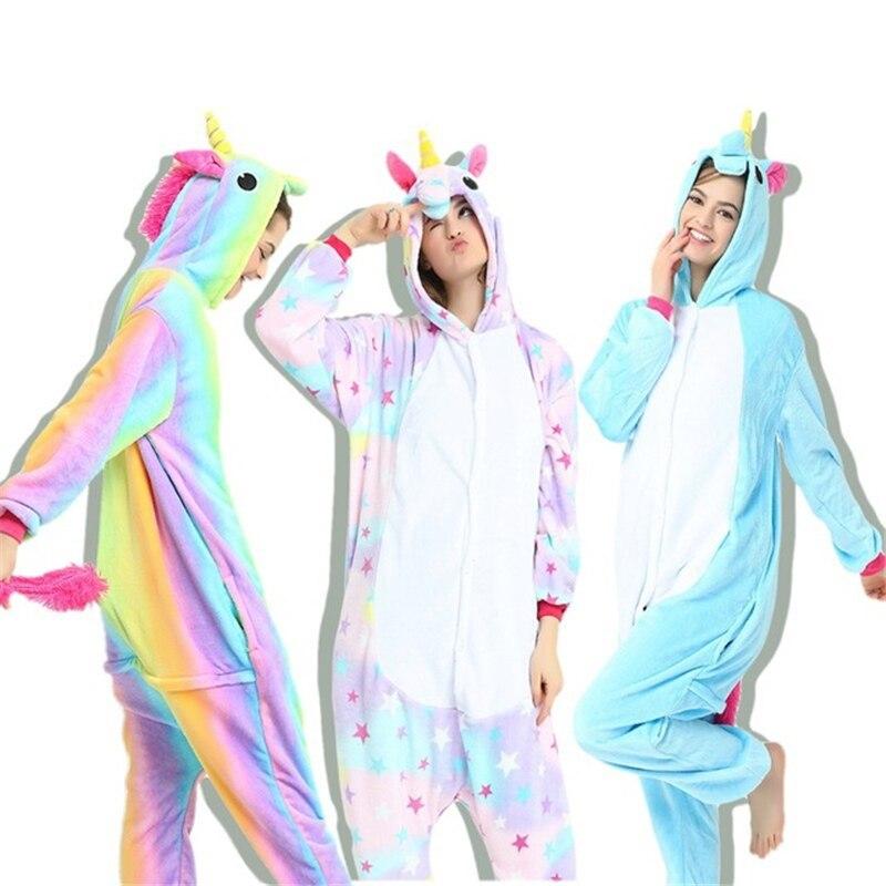 Afeenyrk Winter Erwachsene Tier Pyjamas Sets Cartoon Nachtwäsche Zipper Cosplay Frauen Männer Mit Kapuze Unisex Flanell Panda Einhorn Pyjama Damen-nachtwäsche Unterwäsche & Schlafanzug