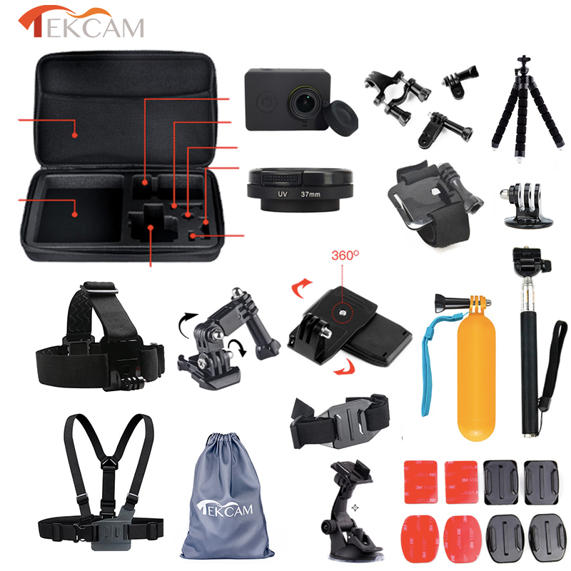 Galleria fotografica Tekcam Case Mount Accessories for Xiaomi yi UV lens Cover for yi 4k/yi 2 4k Action Camera Tripod Selfie for xiaomi yi Lite