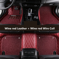 Auto Floor Mats For Land Rover Range Rover Evoque 3 Door 2011 2017 Foot Carpets Step Mat Embroidery Leather Wire coil 2 Layer
