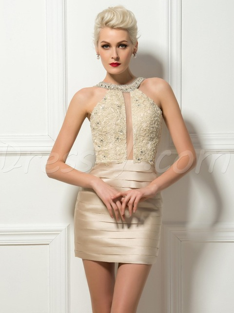 Sexy Bodycon Short Mini Champagne Cocktail Dresses Sheath Pleated Appliques  Beaded Halter Short Party Dress Homecoming 143fc8fc2306