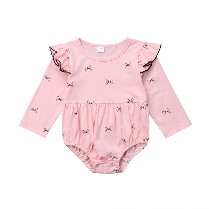 Baby Girl Elastic Jumpsuit Princess Bodysuit Outfit Garment With Bow 0-24m Bodysuits