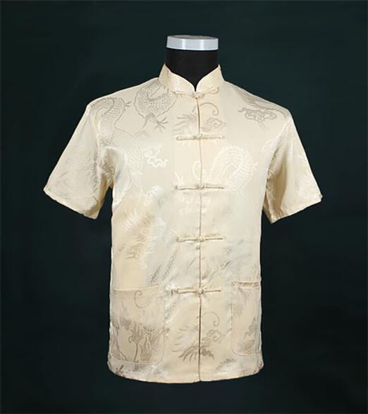 eb7a5080776f2 Beige New Traditional Chinese Men s Silk Satin Kung Fu Shirt Top  Short-sleeve Tang Suit Size S M L XL XXL XXXL LD34