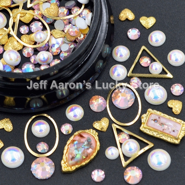 Mixed Style Metal 3d Nail Art Decorations Rhinestones Pearls Frame