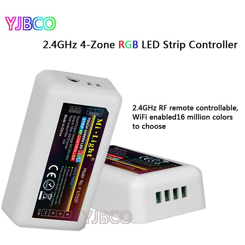 2.4G  Wireless 4-Zone FUT037 Mi Light RF Wireless RGB LED Controller for Flexible 5050 3528 RGB Led Strip Light