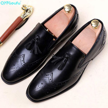 2019 Summer tassel brogue shoes men Slip-On formal Genuine Leather Casual Wedding Office