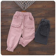 2016 Korean Children's Garment Autumn New Pattern Trousers Girl Baby Fungus Edge Bloomers Girl Leisure Time Easy Long Pants