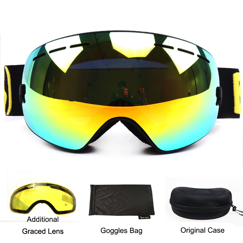 Benice lunettes de ski double couche UV400 anti-buée sphérique ski miroir lunettes ski hommes femmes neige lunettes 3100 + objectif étui ensemble