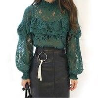Women Long Sleeve Lace Blouse Tops High Neck Ruffle Trim Floral Crochet Blousa Trumpet Sleeves Blouse