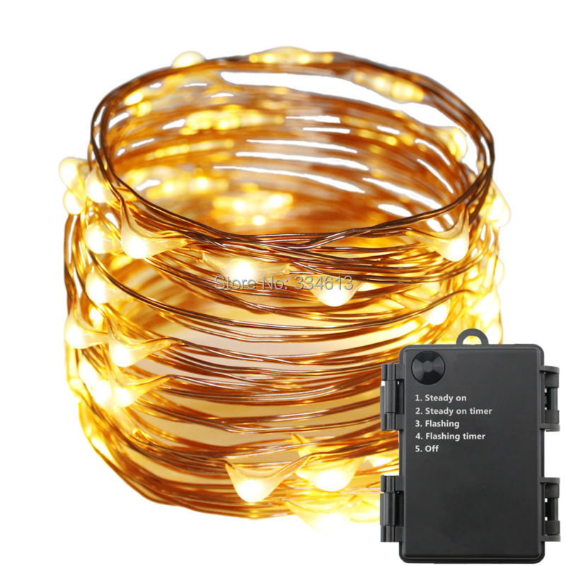 1/3/5pcs 6AA Battery Operated Indoor Outdoor 6M/20Ft 60 LED Waterproof Copper Wire Starry String Rope Lights with Timer Flash