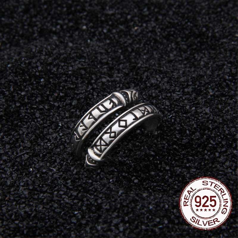 Real 925 Sterling Silver Viking Dragon Rune Ring Adjustable with Viking boxReal 925 Sterling Silver Viking Dragon Rune Ring Adjustable with Viking box